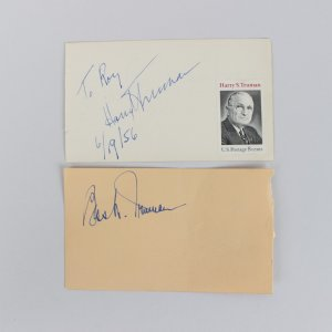 6/19/56 President Harry Truman & First Lady Bess Truman Signed 3x5 Cuts (JSA)