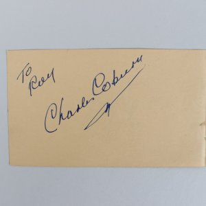 Actor/Actress Charles Coburn & Shirley Jones Signed 3x5 Cut - JSA