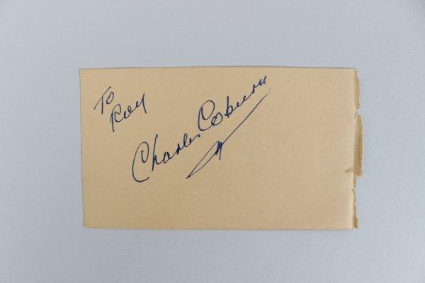 Actor/Actress Charles Coburn & Shirley Jones Signed 3x5 Cut
