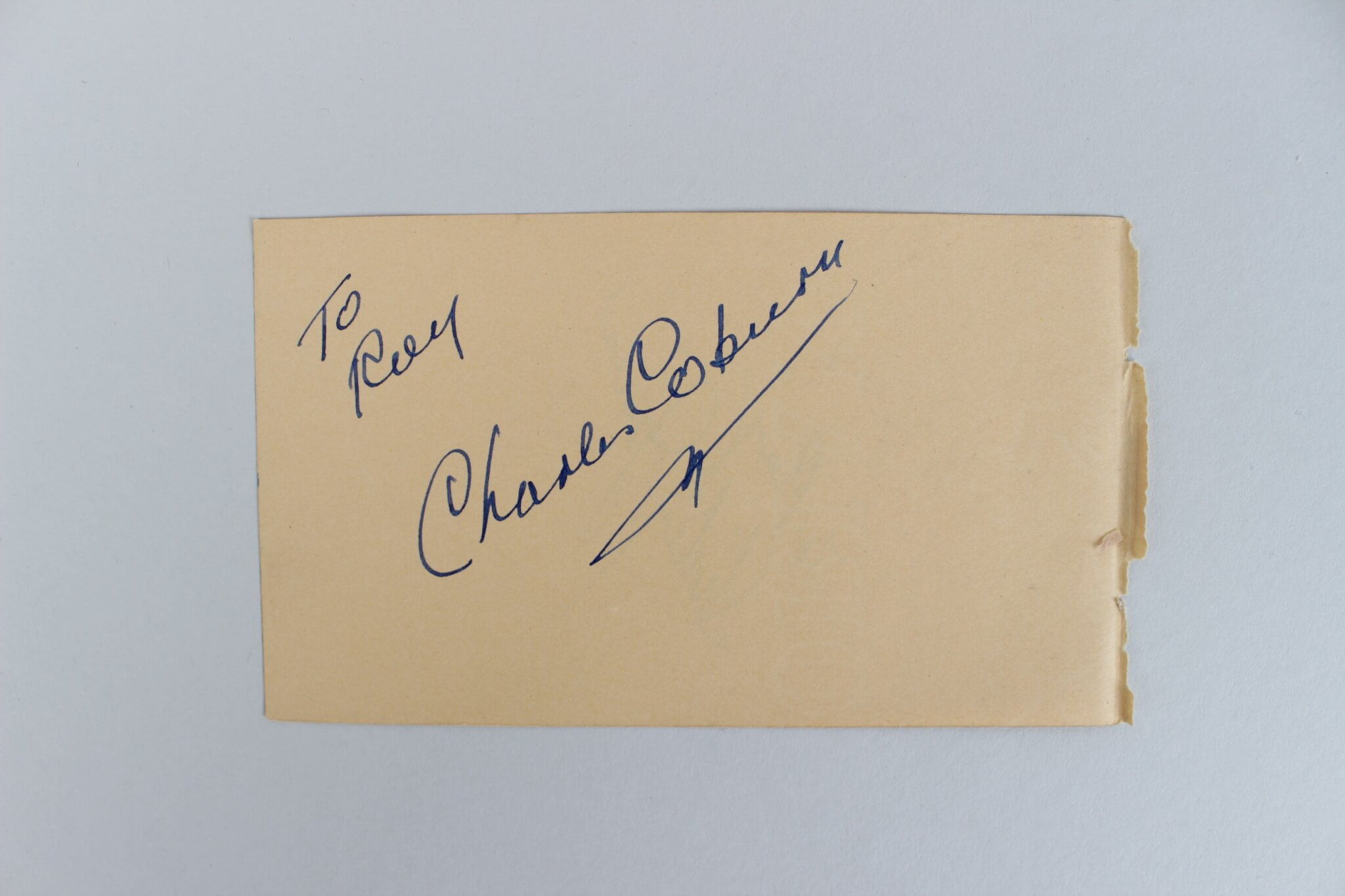 Actor/Actress Charles Coburn & Shirley Jones Signed 3×5 Cut45327_01