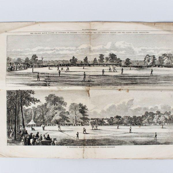 Harper's Weekly October 3-5, 1859: England vs USA Match Report Cricket & Baseball