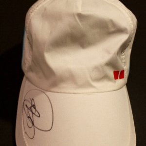 A Novak Djokovic Game-Used & Signed Custom UNIQLO Tennis Hat.  2015 ATP Western & Southern Open Final.  (v. Federer)