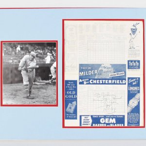 Rare 1949 New York Yankees vs. Boston Red Sox Scorecard Signed, Dated by Ty Cobb Display (JSA Full LOA)