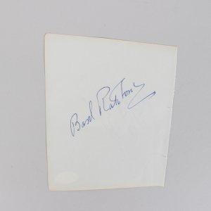 Basil Rathbone & Glenn Ford Signed 5x6 Cut (JSA)