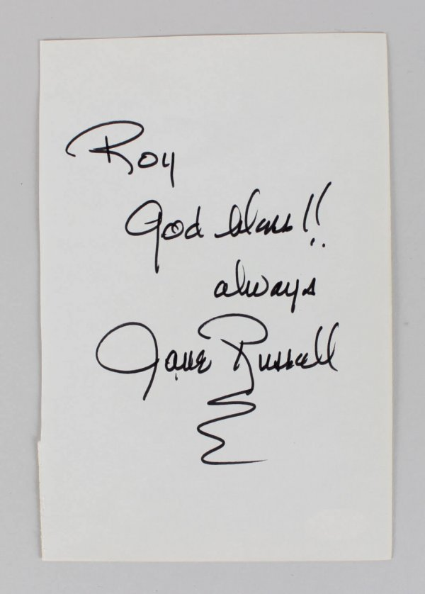 Actress Jane Russell Signed 5x8 Cut (JSA)