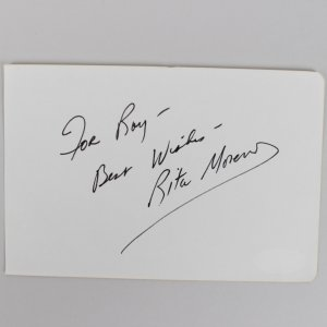 Actress/Singer - Rita Moreno Signed & Inscribed 4x6 Vintage Cut- COA JSA