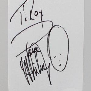 Whitney Houston Signed & Inscribed 4x6 Cut (JSA)
