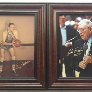 John Wooden and George Mikan signed 8x10 photos with frames
