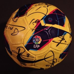 An FC Barcelona Game-Used & Squad Signed Nike LFP Match Ball.  2012/13 Spanish La Liga.  (Messi, Iniesta, Xavi, Puyol, Etc.)