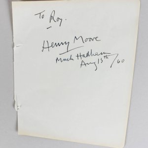 Henry Spencer Moore Signed & Inscribed Much Hadham, August 13th /60
