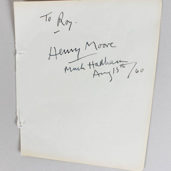 Henry Spencer Moore Signed & Inscribed Much Had Ham, August 13th /60- Cut - JSA