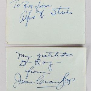 Alfred Nu Steele & Joan Crawford Signed Vintage Album page