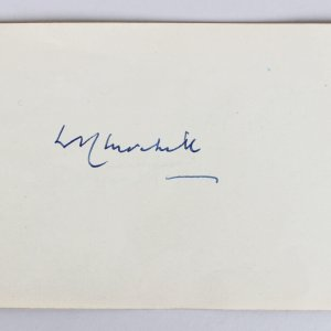 Winston Churchill & Olivia De Havilland Signed Parchment Cut