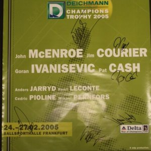 A Pair of Tennis Posters Signed by Tennis Legends.  Pat Cash, Jim Courier, Goran Ivanisevic, Henri Leconte, Cedric Pioline, etc.