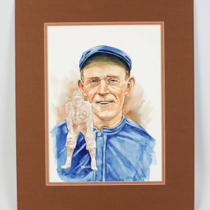 "1980""s Perez Original Water Color 16x20 Artwork Cubs-Joe Tinker From the Barry Halper Collection"