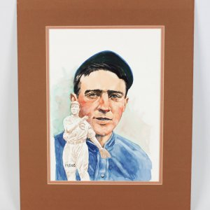 "1980""s Perez Original Water Color 16x20 Artwork Cubs-Johnny Evers From the Barry Halper"