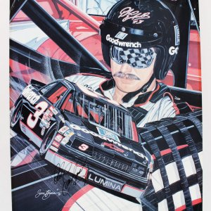 NASCAR- Dale Earnhardt, Sr. Signed 24 x30 Lithograph LE by Sam Bass- JSA