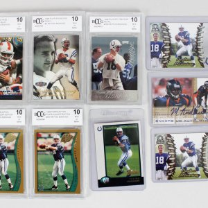 1998 Indianapolis Colts – Peyton Manning Rookie Card Lot (8) feat. (5) Graded 10