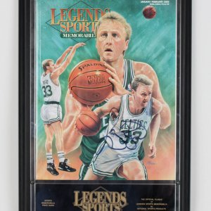 Boston Celtics Larry Bird Signed Legends Sports Magazine in Plaque - JSA