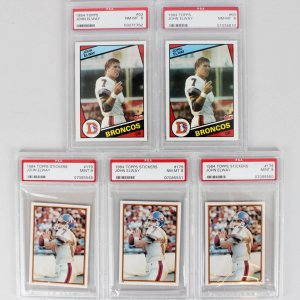 1984 Denver Broncos - John Elway Rookie Card Lot (5) PSA Graded 8 & 9