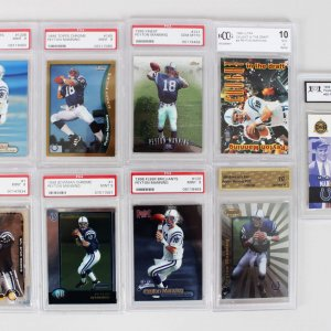 1998 Indianapolis Colts – Peyton Manning Rookie Card Lot (9) feat. (7) Graded - PSA