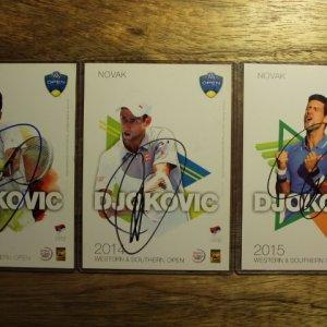 A Set of 3 Novak Djokovic Signed ATP Western & Southern Open Tournament Postcards.