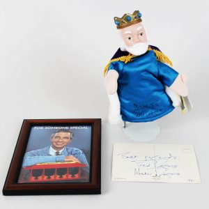 Mr. Rogers Signed & Inscribed Puppet, Postcard & 8x10 Photo