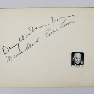 "Dwight Eisenhower& Mamie Eisenhower Signed 4 3/4"" x 6 1/4"" Album Page (JSA)"