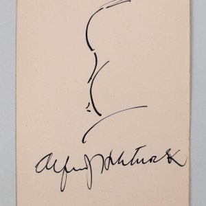 "Alfred Hitchcock , Signed (4"" x 6"" V) Album Page With Self Portrait (JSA Full Letter)"