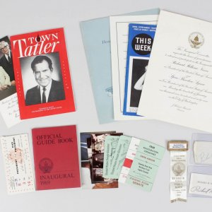 President Richard Nixon Lot Incl. Signed Cut, '69 Inauguration Invitation, Tickets, Pins +More (JSA Full LOA)