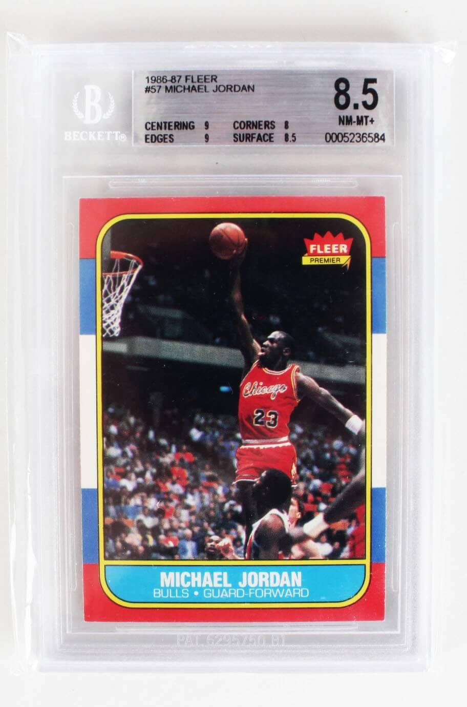 1986 87 Fleer Basketball Michael Jordan Rookie Card 57 Bgs Graded 85 Nm Mt