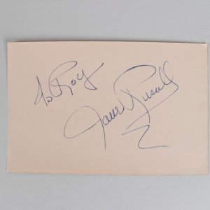 The Outlaw - Jane Russell Signed 4x6 Cut (JSA)