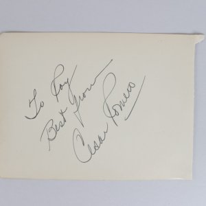 The Joker - Cesar Romero Signed & Inscribed 5x6 Vintage Cut - COA JSA
