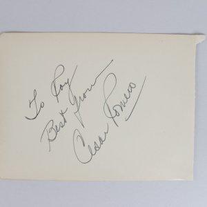 The Joker - Cesar Romero Signed & Inscribed 5x6 Cut (JSA)