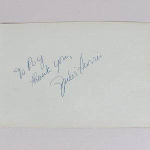 Actress - Julie Harris Signed & Inscribed 4x6 Cut (JSA)