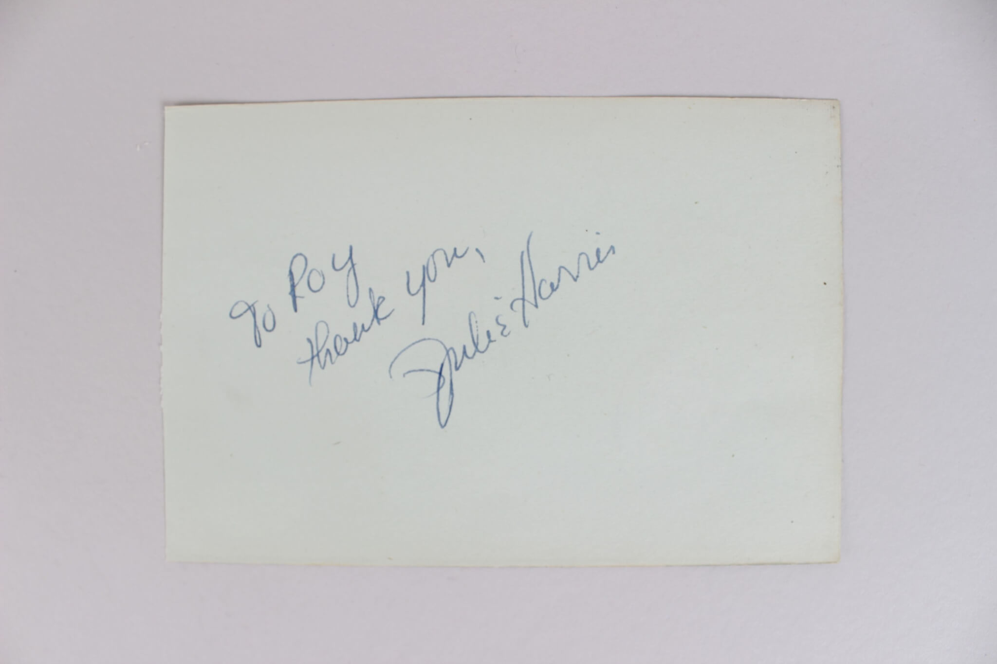 Actress – Julie Harris Signed & Inscribed 4×6 Cut (JSA)50742_01