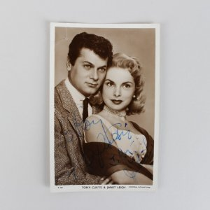 Tony Curtis & Janet Leigh Signed Post Card - COA JSA