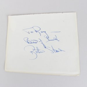 Actor/Actress - Robert Stack & Gia Scala Signed 5x6 Cut (JSA)