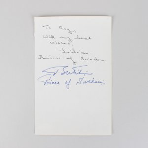Prince Bertil & Lilian of Sweden Signed 5x8 Vintage Cut - COA JSA