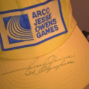 Jesse Owens Signed Arco Jesse Owens Games Yellow Cap