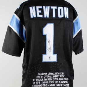 Panthers Cam Newton Signed Stat Jersey (COA GTSM)