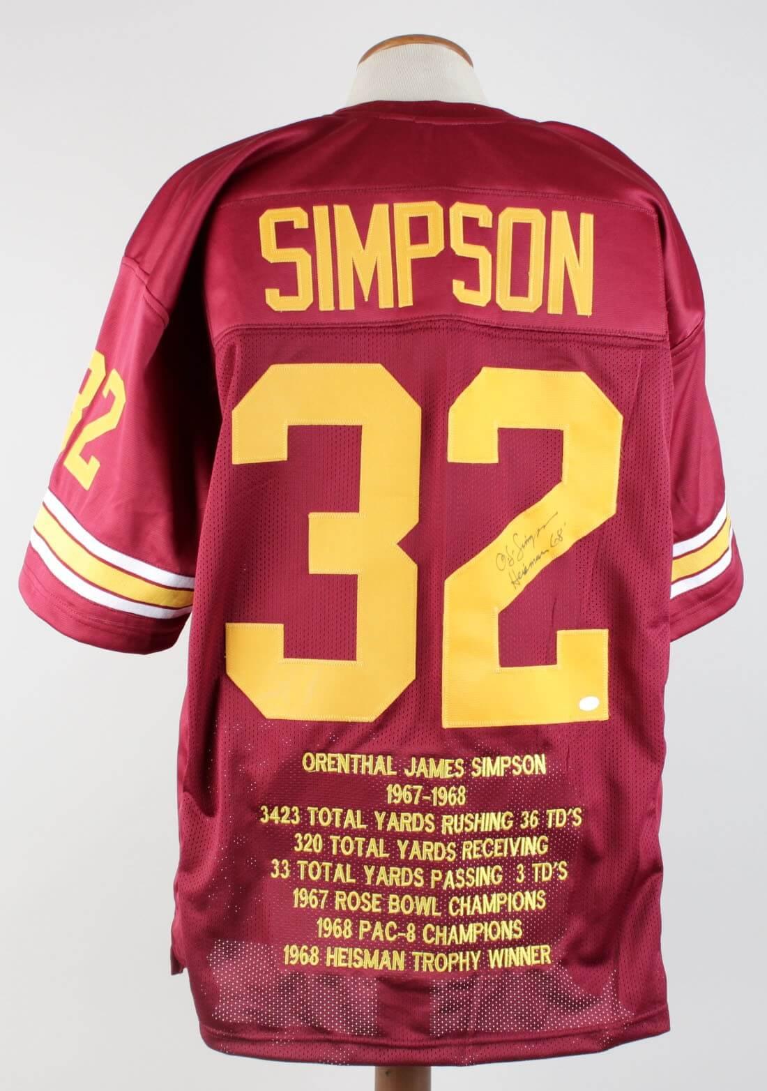 buy popular 5700f 0410f USC OJ Simpson Signed & Inscribed Stat Jersey (COA)