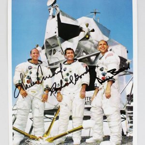 NASA Apollo 12 Crew Signed 8x10 Photo Charles Conrad, Richard Gordon & Alan Bean (JSA Full LOA)
