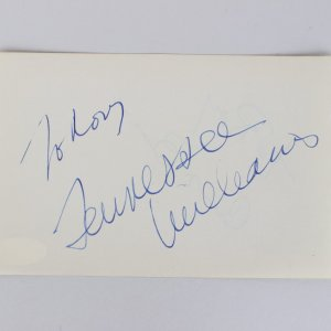 Tennessee Williams & Count Basie Signed 4x6 Cut (JSA)