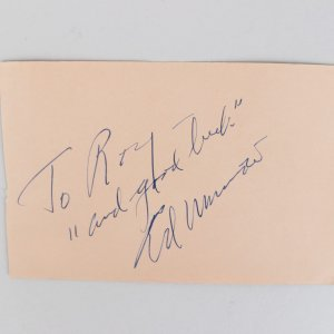 Ed Murrow & Louis Bellson Signed 4x6 Cut (JSA)