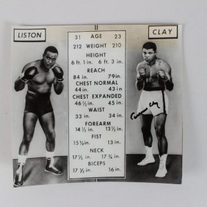 Liston vs Cassius Clay Signed 6 1/4 x 6 3/4  May 22 1965 Wire Photo - JSA Full LOA