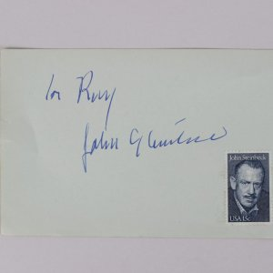 "John Steinbeck Signed 4"" x 6 1/4"" H Album Page The Pulitzer Prize-winning The Grapes of Wrath (JSA Full Letter)"