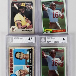 Baseball & Football Rookie Card Lot - Feat. (2) 1981 Topps Joe Montana, 1968 Johnny Bench BGS Graded & 1983 Fleer Tony Gwynn