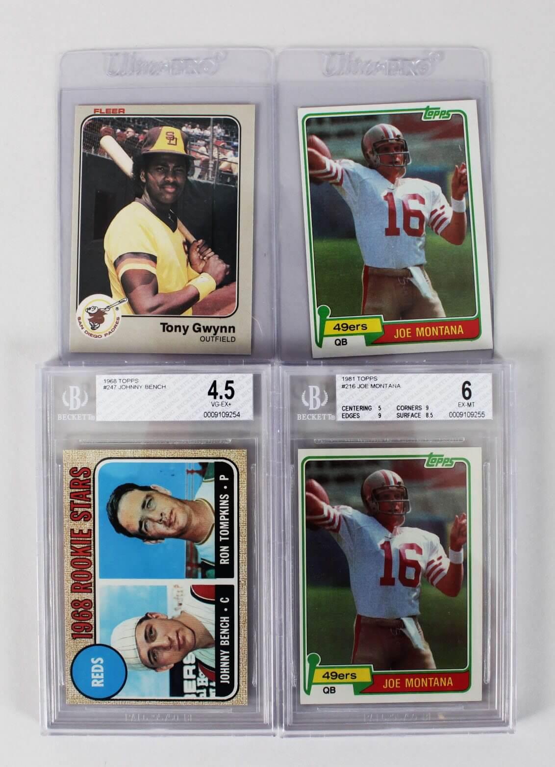 Baseball & Football Rookie Card Lot - Feat. (2) 1981 Topps Joe Montana, 1968 Johnny Bench BGS Graded & 1983 Fleer Tony Gwynn