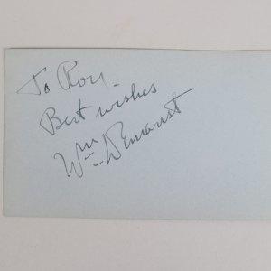 Actors - Robert Mitchum & William Demarest Signed 3x5 Cut (JSA)